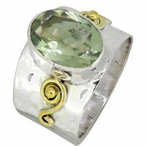 Nitya Silver&Brass Green Amethyst NWT 8
